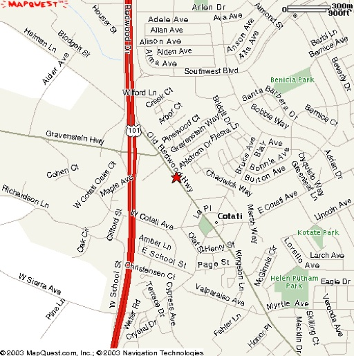 street map of cotati, zone recording